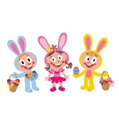 Kids dressed up as easter bunnies vector
