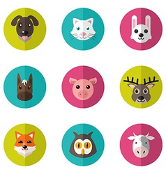 Set of cute animals icons with flat design vector