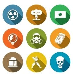 Atomic energy of japan icons set vector