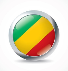 Republic of congo flag button vector
