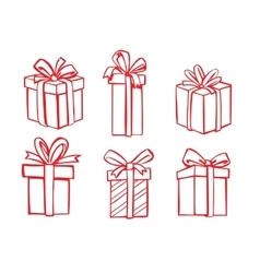 Red gift icon vector