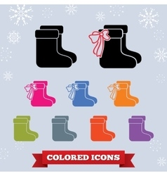 Sock with bow icon set winter holiday christmas vector