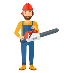Cheerful lumberjack with chainsaw vector