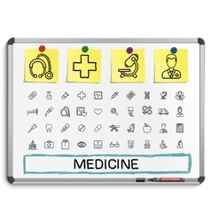 Medical hand drawing line icons vector
