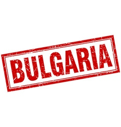 Bulgaria red square grunge stamp on white vector