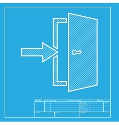 Door exit sign white section of icon on blueprint vector