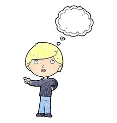 Cartoon boy pointing with thought bubble vector