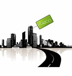 city with eco tag vector image vector image
