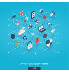 cyber security integrated 3d web icons digital vector image