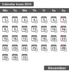 December 2014 Calendar Icons vector image vector image