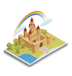 fairy tale castle isometric composition vector image vector image