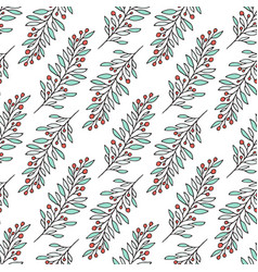 floral pattern with branches red berry nature vector image vector image