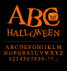 Halloween font curves of letters to terrible vector