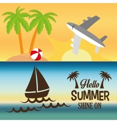 Hello summer card shine one two banner vector