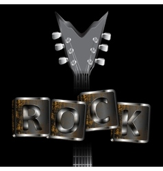 neck of the guitar words rock uno vector image vector image