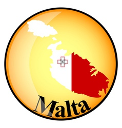 orange button with the image maps of Malta vector image vector image