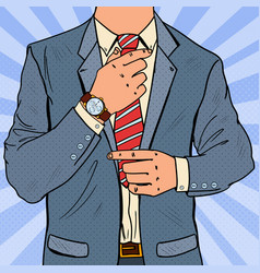 Pop art businessman adjusting tie male fashion vector