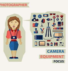 Profession of people Flat infographic Photographer vector image