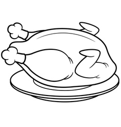 Roast chicken outline vector
