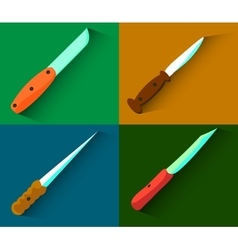Set of four knives with long shadows Flat design vector image