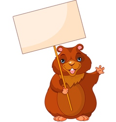 woodchuck holding groundhog day sign vector image vector image