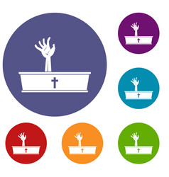 Zombie hand coming out of his coffin icons set vector