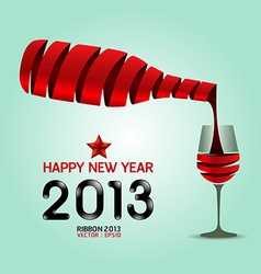 Happy new year 2013 ribbon wine bottle shape vector