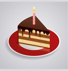 A piece of chocolate cake with one candle on a vector