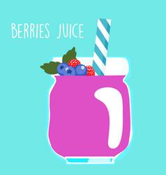 Fresh berries juice in glass vector