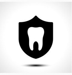 Tooth with protective shield on white background vector