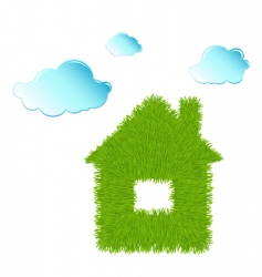 eco house and clean clouds vector image