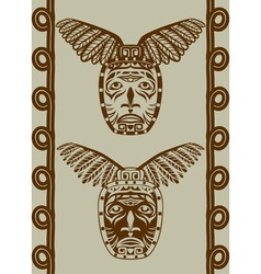 Native american mask with pattern vector