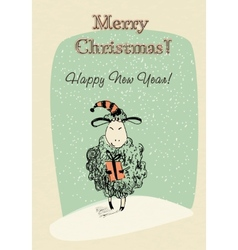 Greeting card sheep with gift vector