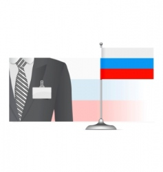 Russian diplomat on flag vector