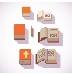 Pixel art style closed and open book icons set vector
