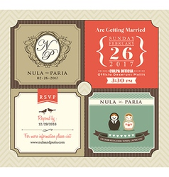 Vintage style wedding invitation card template vector