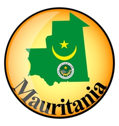 Orange button with the image maps of mauritania vector