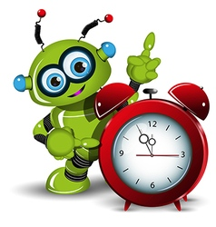 A robot and alarm clock vector