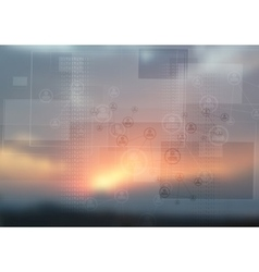 Abstract tech design on magic sunset backdrop vector