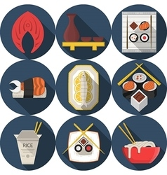 Flat round blue icons for asian food vector