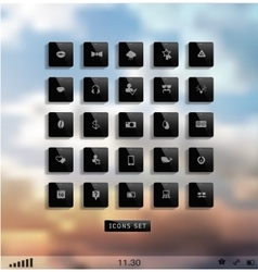 Set of web plat icons on blur vector