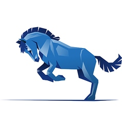 Square blue horse vector