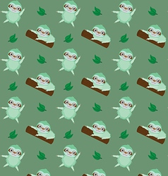 Pattern with cute cartoon sloth vector