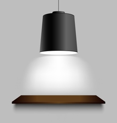 Black ceiling lamp with shelf on the wall vector image