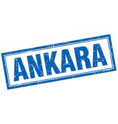 Ankara blue square grunge stamp on white vector