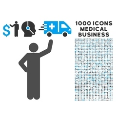 Assurance pose icon with 1000 medical business vector