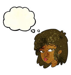 cartoon curious woman with thought bubble vector image vector image