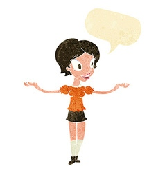 Cartoon woman with arms spread wide with speech vector