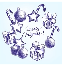 Christmas decorations hand drawn vector