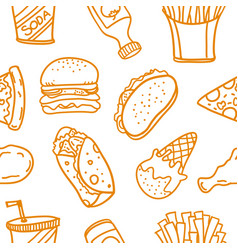 Collection of fast food doodle set vector